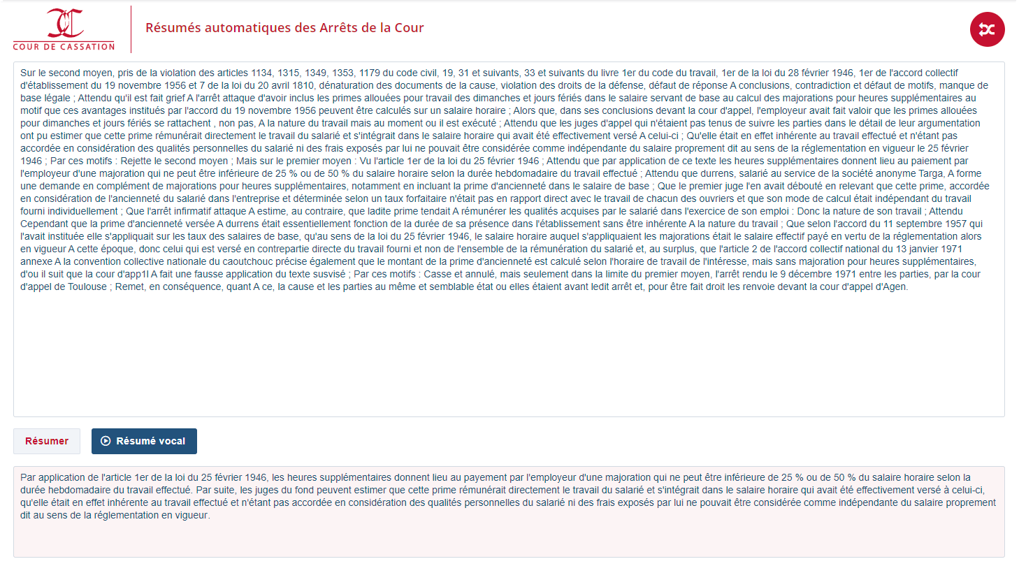 Cassation - Texta and vocal summaries of Decisions from France's supreme Court.