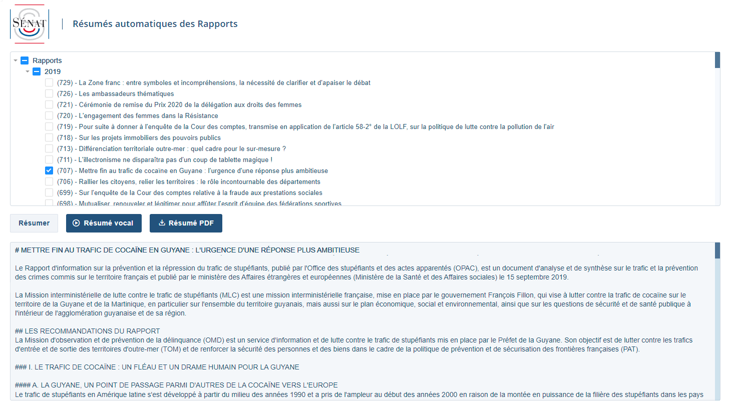 Sénat - Automatic PDF or markdown summaries for pages-long official Reports from the French Senate.