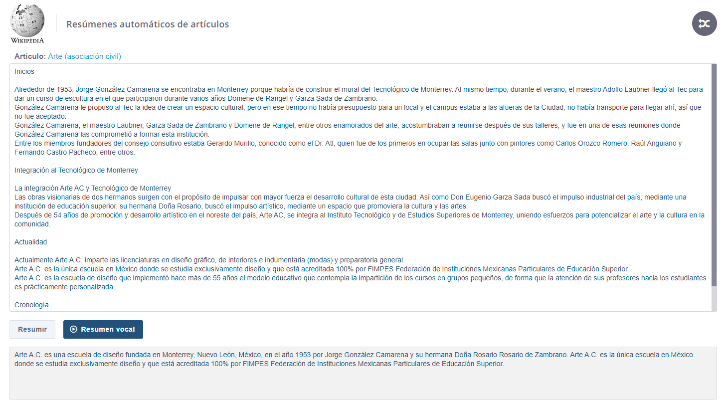 Wikipedia Spanish - Text and vocal summaries of Wikipedia articles in Spanish.