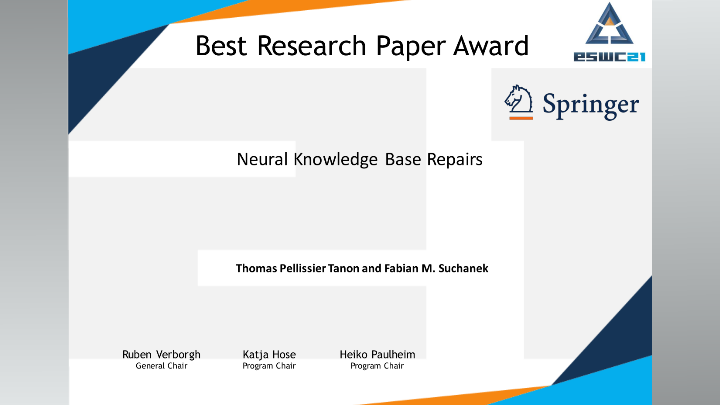 Best Research Paper Award @ ESWC '21 for LEXISTEMS' Head of Research Thomas Pellissier-Tanon.